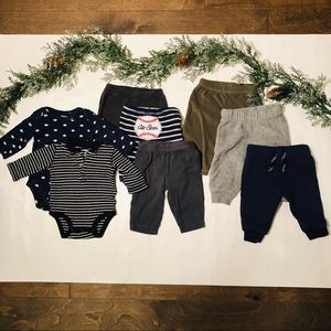 Carter's Baby Boy Pants and Onesies Lot, 3 months